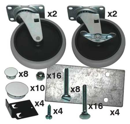 Rubbermaid Caster Kit with Hardware Type FG3317L1OWHT
