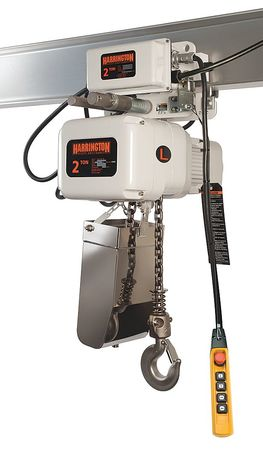 Harrington Elec. Chain Hoist w/Trolley 2000lb 15ft.