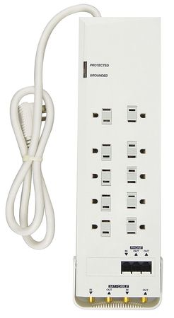 Datacom Surge Protector 12 Outlet White by USA Power First Extension Power Strips