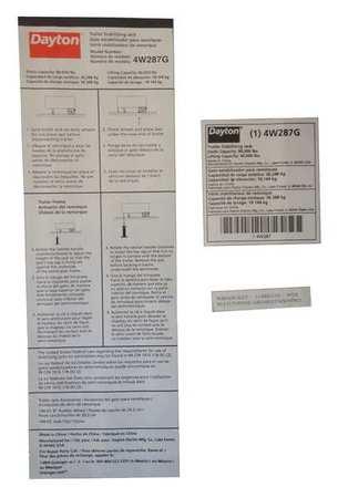 Dayton Instruction Label