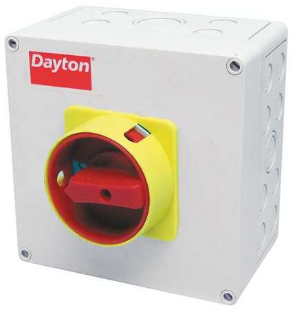 50 Amp 600VAC Single Throw Enclosed Disconnect Switch 3P Model 35JF57 by USA Dayton Electrical Safety & Disconnect Switches
