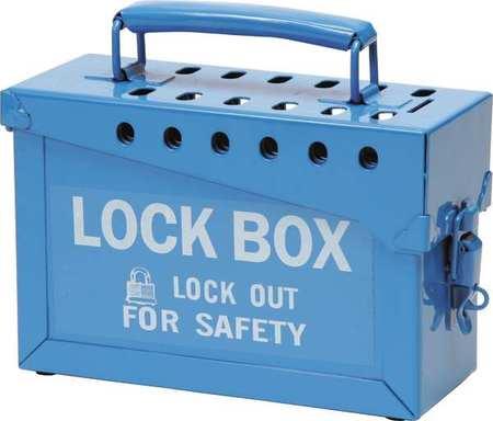 brady group lockout box heavy duty steel blue 45190. Black Bedroom Furniture Sets. Home Design Ideas