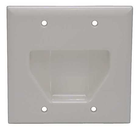 Wall Plate Cable Recessed 2G Lt Almd by USA Monoprice Voice & Data Outlets Boxes Faceplates