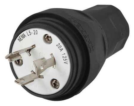 20A Watertight Locking Plug 2P 3W 125VAC L5 20R BK by USA Hubbell Kellems Electrical Locking Plugs