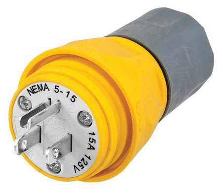 3 Wire Industrial Watertight Straight Blade Plug 125VAC 15A by USA Hubbell Kellems Electrical Straight Blade Plugs