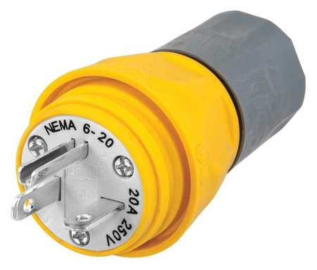 3 Wire Industrial Watertight Straight Blade Plug 250VAC 20A by USA Hubbell Kellems Electrical Straight Blade Plugs