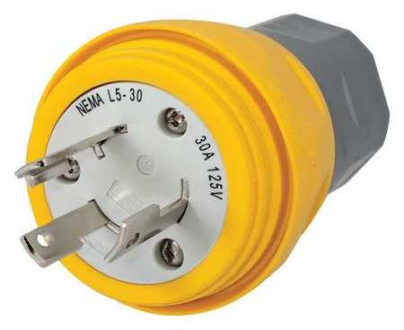 30A Watertight Locking Plug 2P 3W 125VAC L5 30P YL by USA Hubbell Kellems Electrical Locking Plugs