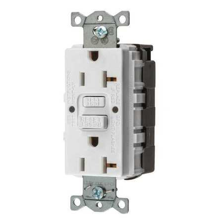 GFCI Receptacle 20A 125VAC 5 20R White Model GFRST20SNAPW by USA Hubbell Kellems Electrical GFCI Receptacles