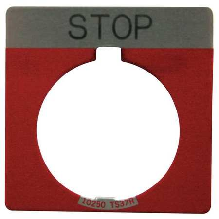 Legend Plate Square Stop Red Model 10250TS34 by USA Eaton Electrical Pushbutton Accessories