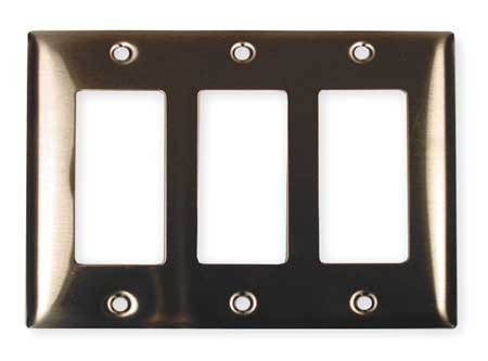 Rocker Wall Plate 3 Gang Silver by USA Hubbell Kellems Electrical Wall Plates