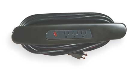 Outlet Strip 3 Outlet 10 ft. Black by USA Rubbermaid Extension Power Strips