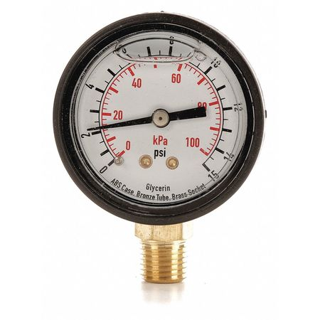 "Standard Pressure Gauge with ABS Case,  Lower Connection,  2"" Dia."