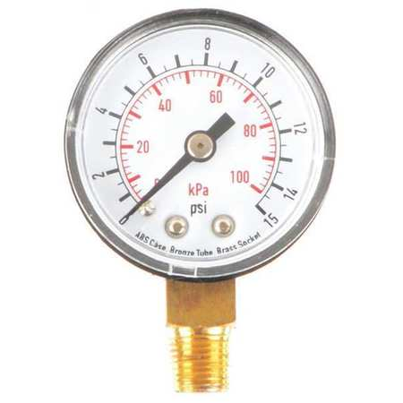 "Standard Pressure Gauge with ABS Case,  Lower Connection,  1-1/2"" Dia."