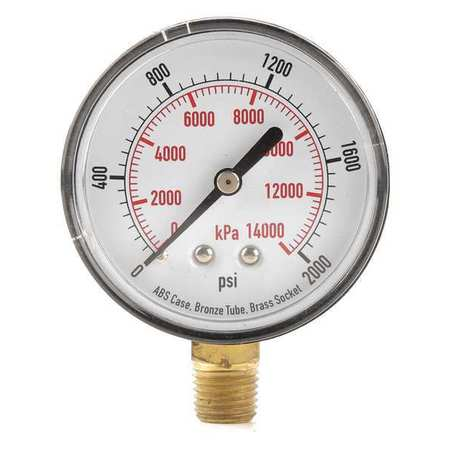 "Standard Pressure Gauge with ABS Case,  Lower Connection,  2-1/2"" Dia."