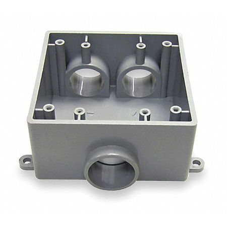 Weatherproof Box 2Gang 3 Inlet PVC by USA Cantex Electrical Weatherproof Boxes