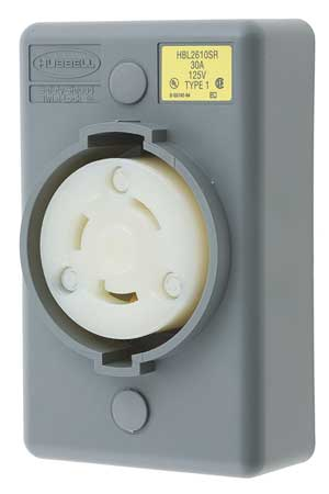 30A Locking Receptacle 2P 3W 125VAC L5 30R GY by USA Hubbell Kellems Electrical Locking Receptacles