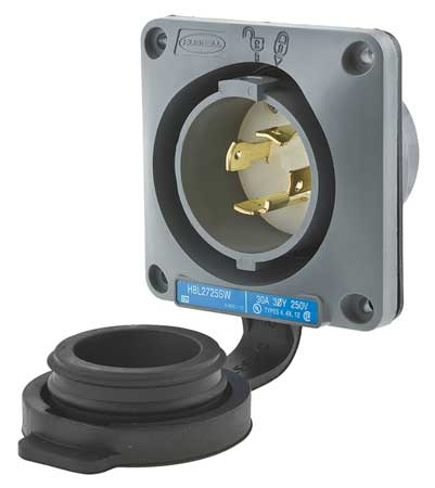 30A Watertight Flanged Locking Inlet 3P 4W 250VAC by USA Hubbell Kellems Electrical Locking Receptacles