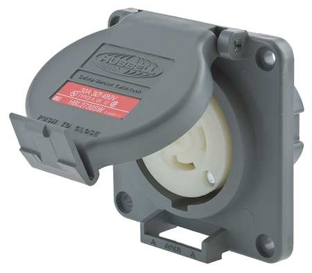 30A Watertight Locking Receptacle 3P 4W 480VAC by USA Hubbell Kellems Electrical Locking Receptacles