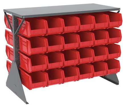 Louvered Floor Rack,52-5/8x27x40 In,red
