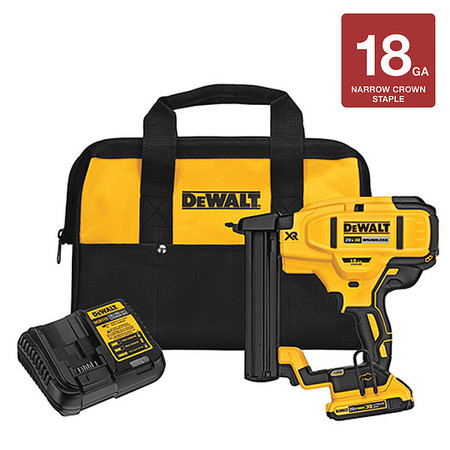 DeWALT DCN681D1 20-Volt MAX 18ga Cordless Brushless Narrow Crown Stapler Kit