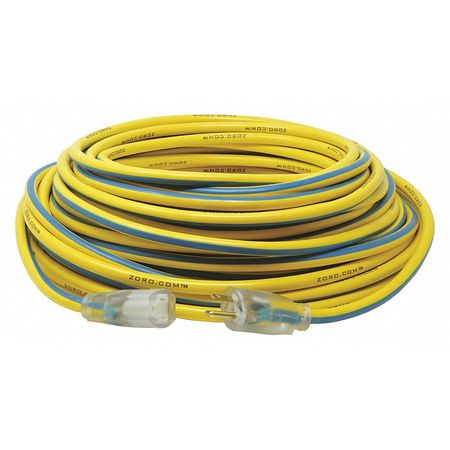 100 ft. 12/3 SJTW Lighted Extension Cord YL/BL by USA Zoro Extension Cords