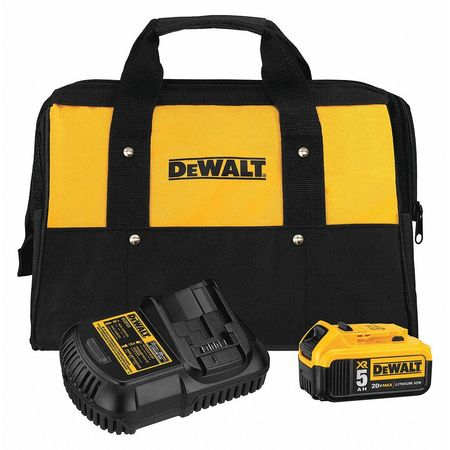 DeWalt DCB205CK 20V MAX Battery and Charger Kit with Bag, 5.0Ah