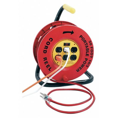 Cord Reel 50ft. 14/3 Cord Outlets Switch Min. Qty 2 by USA Designer's Edge Extension Cord Reels