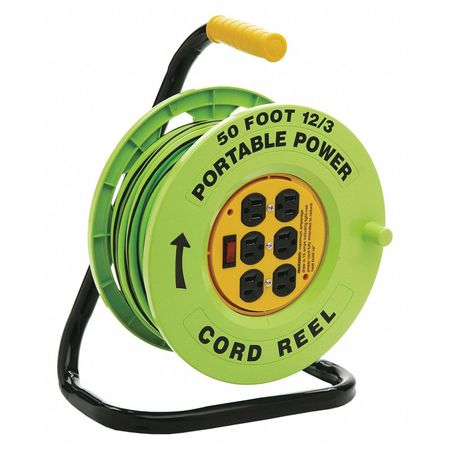Cord Reel 50ft.12/3 Cord Outlets Switch Min. Qty 2 by USA Designer's Edge Extension Cord Reels