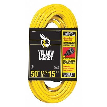 50 ft. Locking Cord w/Receptacle SJTW Min. Qty 6 by USA Yellow Jacket Extension Cords