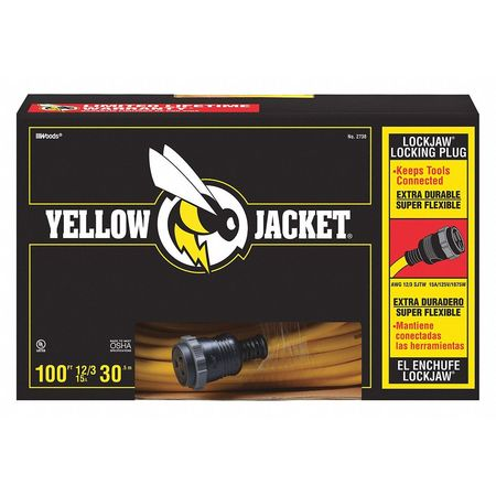 100 ft. Locking Extension Cord w/Receptacle SJTW Min. Qty 2 by USA Yellow Jacket Extension Cords