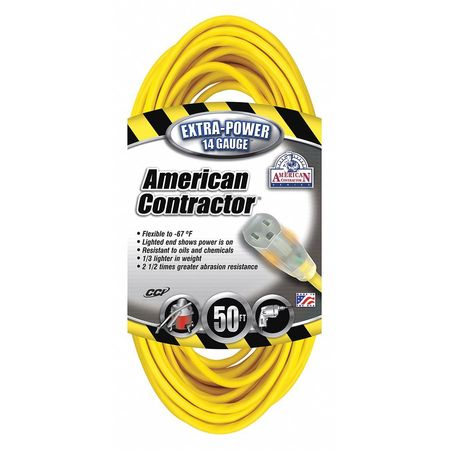 50 ft. Yellow Extension Cord w/Receptacle SJEOW Min. Qty 6 by USA American Contractor Extension Cords