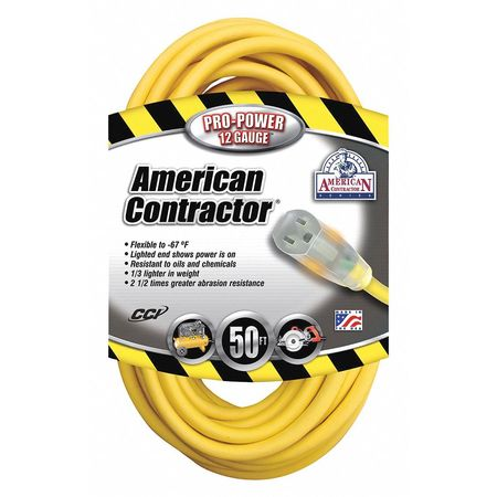 50 ft. Yellow Extension Cord w/Receptacle SJEOW Min. Qty 6 Model 16980002 by USA American Contractor Extension Cords