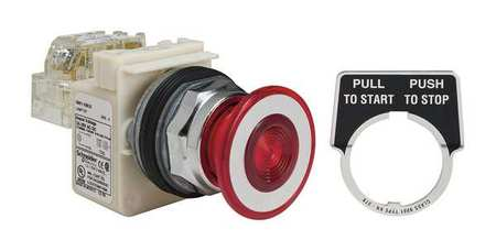 Illuminated Push Button 30mm 1NO/1NC Red Model 9001KR9P35RH13 by USA Schneider Electrical Pushbutton Complete Units