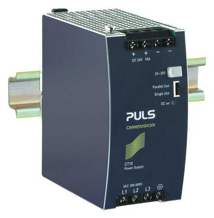 DC Power Supply Metal 24 to 28VDC 240W Model CT10.241 by USA Puls Electrical AC DC Power Supplies