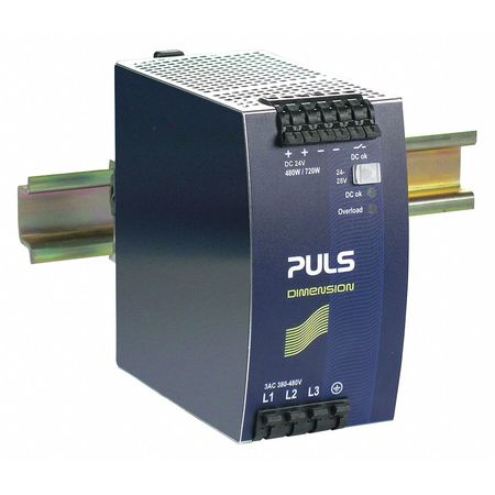 DC Power Supply,Metal,24 to 28VDC,480W -  PULS, QT20.241