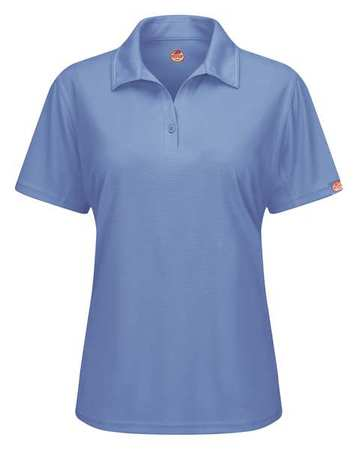 Short Sleeve Polo,womens,m,blue,button