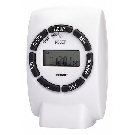 Plug In Timer White Indoor 125V Digital by USA Tork Electrical Plug In & Wall Switch Timers