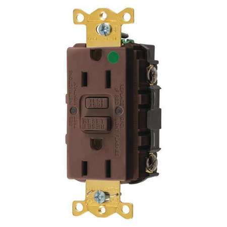 GFCI Receptacle 15A 125VAC 5 15R Brown Model GFRST82 by USA Hubbell Kellems Electrical GFCI Receptacles