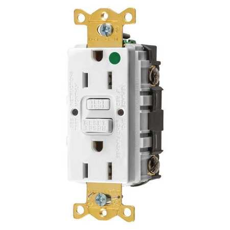 GFCI Receptacle 15A 125VAC 5 15R White by USA Hubbell Kellems Electrical GFCI Receptacles