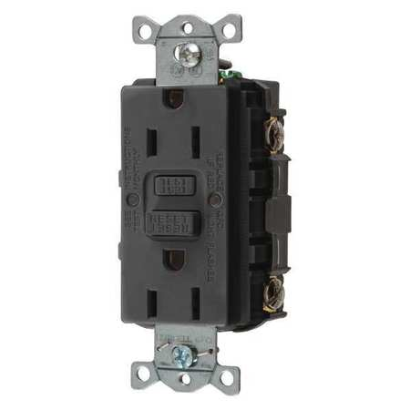 GFCI Receptacle 15A 125VAC 5 15R Black Model GFRST15BK by USA Hubbell Kellems Electrical GFCI Receptacles