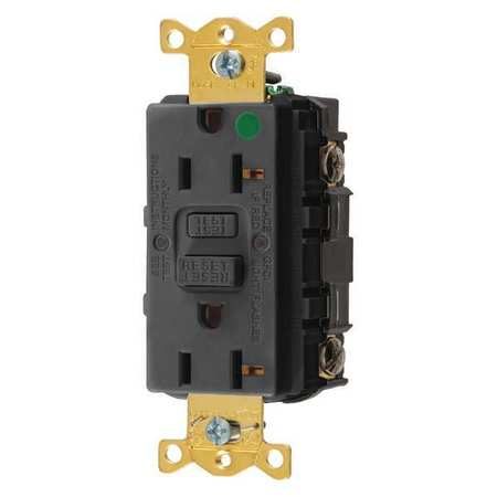 GFCI Receptacle 20A 125VAC 5 20R Black Model GFRST83BK by USA Hubbell Kellems Electrical GFCI Receptacles