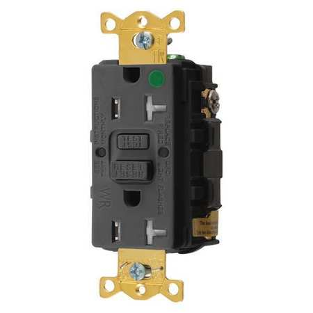 GFCI Receptacle 20A 125VAC 5 20R Black Model GFTWRST83BK by USA Hubbell Kellems Electrical GFCI Receptacles