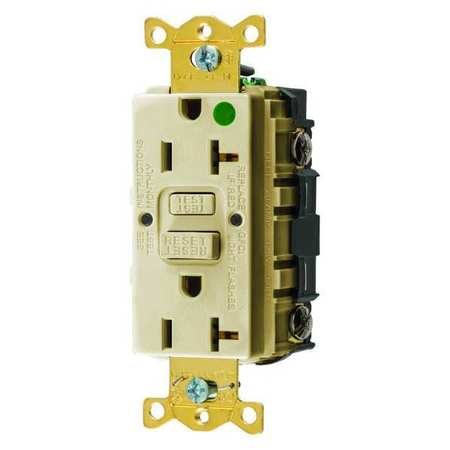 GFCI Receptacle 20A 125VAC 5 20R Ivory Model GFRST83I by USA Hubbell Kellems Electrical GFCI Receptacles