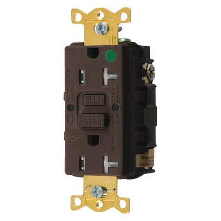 GFCI Receptacle 20A 125VAC 5 20R Brown Model GFTWRST83 by USA Hubbell Kellems Electrical GFCI Receptacles