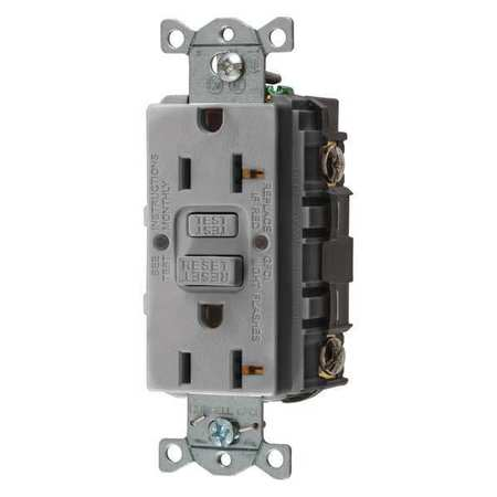 GFCI Receptacle 20A 125VAC 5 20R Gray Model GFRST20GY by USA Hubbell Kellems Electrical GFCI Receptacles