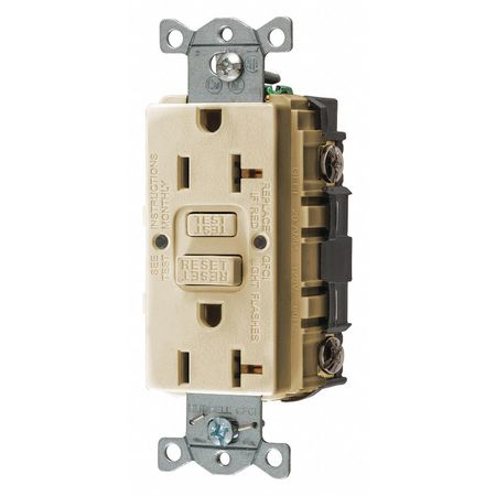 GFCI Receptacle 20A 125VAC 5 20R Ivory Model GFRST20I by USA Hubbell Kellems Electrical GFCI Receptacles