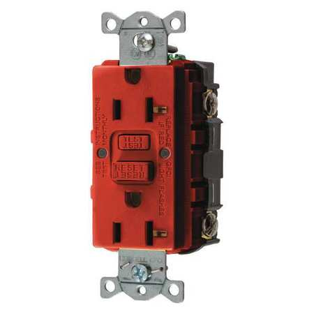 GFCI Receptacle 15A 125VAC 5 15R Red by USA Hubbell Kellems Electrical GFCI Receptacles