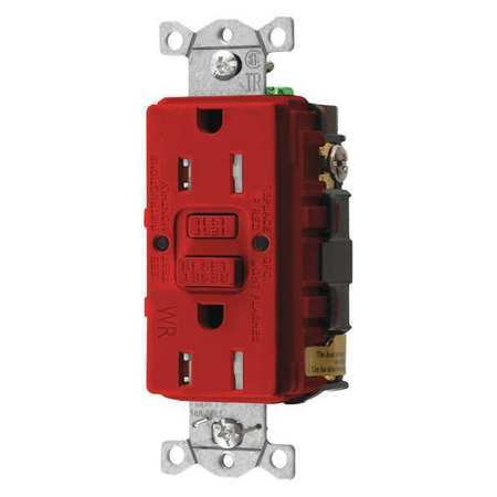 GFCI Receptacle 15A 125VAC 5 15R Red Model GFTWRST15R by USA Hubbell Kellems Electrical GFCI Receptacles