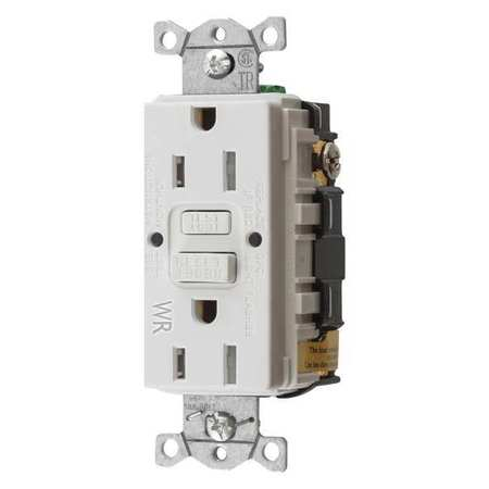 GFCI Receptacle 15A 125VAC 5 15R White Model GFTWRST15W by USA Hubbell Kellems Electrical GFCI Receptacles