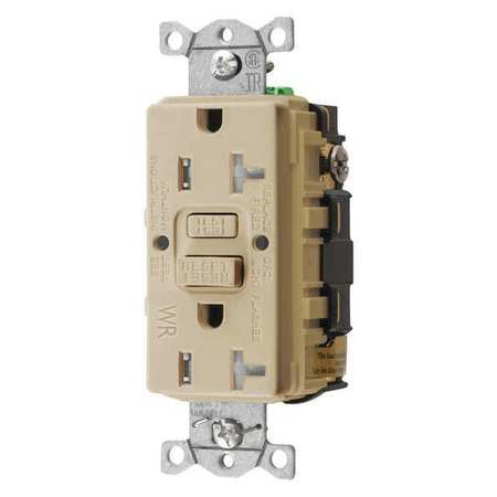 GFCI Receptacle 20A 125VAC 5 20R Ivory Model GFTWRST20I by USA Hubbell Kellems Electrical GFCI Receptacles